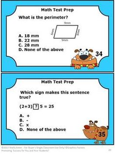 40 Math Task Cards Grade 3 Test Prep --  Here are 40 math task cards to help your students prepare for math tests. The questions focus on Common Core skills for students in 3rd grade. Please see the preview. A student response form and answer key are also provided.