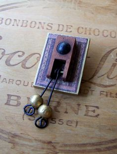 Recycled PIANO Pin w/ Drops Unique Wooden Jewelry by melsville