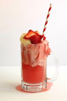 Strawberry ice cream float