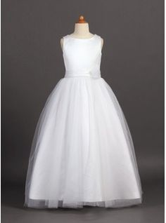 Junior Bridesmaid Dresses - $109.99 - A-Line/Princess Scoop Neck Floor-Length Tulle Charmeuse Junior Bridesmaid Dress With Flower(s)  http://www.dressfirst.com/A-Line-Princess-Scoop-Neck-Floor-Length-Tulle-Charmeuse-Junior-Bridesmaid-Dress-With-Flower-S-009022455-g22455