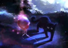 cats, cat art, uno rojo, rihard donski, digital art, kitti, balloons, kitty, black cat