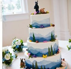 I don't like the animals, but the mountains and trees are adorable for a Blue Ridge wedding. googl search, animals, mountains, cake idea, mountain weddings, mountain cake, trees, wedding cakes, squirrel