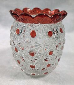 Old Daisy & Button Pattern Barrel Shaped Glass Toothpick Holder Ruby Stain Dots