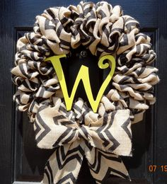 Chevron Burlap Wreath with Monogram and Bow  by FortWorthFlair, $45.00