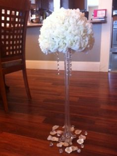 My DIY Pomanders. Suggestions, Comments, Opinions?? :  wedding centerpieces diy diy pomanders eiffel tower vases ivory pomanders purple reception receptions silver white Image 15