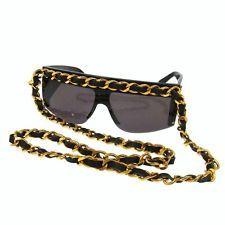 $2,248.00 Auth CHANEL CC Logos Sunglasses Black Plastic Eye Wear Italy Vintage TY00098