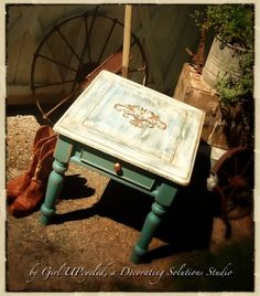 Table in shabby chic boho distressed Calk Paint by girlUPcycled, $225.00