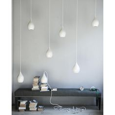 Mila Hanging Pendant Lamps // ceramic + twisted cloth cord