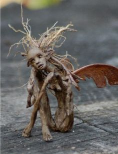sculpture garden, faeries sculpture, evil fairies, fantasi, roots, creature sculpture, root fairi, art, wood sprite
