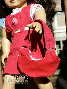 American Girl dress with free purse pattern! #free #dollclothes