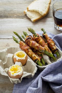 bacon wrapped asparagus soldiers with soft-boiled eggs