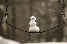 so cute snowman on swing!