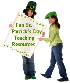 Fun St. Patrick's Day teaching resources and lesson plan activities: powerpoint lessons, reading, creative writing, sticker charts, and classroom calendar displays.