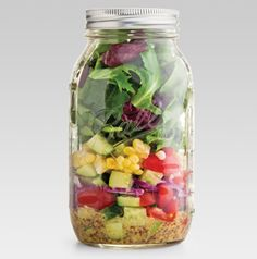Turn leftovers into a yummy salad for lunch. Just layer it all in a jar with a screw top. Just think of how jealous everyone will be when you pour the Salad in a Jar onto a plate at lunch!