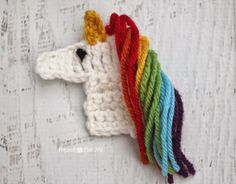 #Crochet unicorn appliqué free pattern from @repeatcrafterme