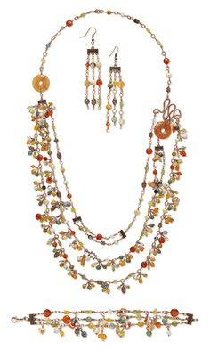 Triple-Strand Necklace, Bracelet and Earring Set with Gemstone Beads, Swarovski Crystal Beads and Wirework
