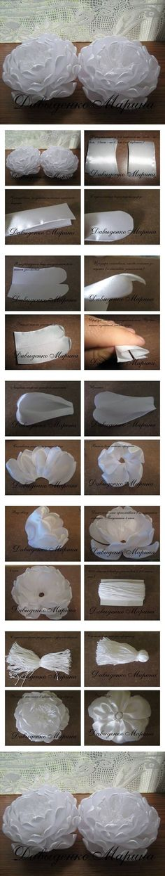 """WOW!!!....a great tutorial! flowers made by melting """"satin"""" ribbon thus giving them a very different effect! gonna try this one!...."""