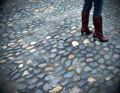 Cobblestones in Dublin, Ireland.