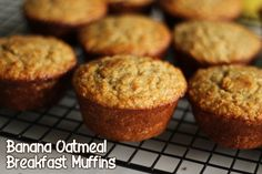 -Banana Oatmeal Breakfast Muffins *no flour or sugar Ingredients: 2.5 cups old fashioned oats 1 cup plain low fat greek yogurt 2 eggs 1/2 cup honey 2 tsp baking powder 1 tsp baking soda 2 TBSP ground flax seed 1 tsp vanilla 2 ripe bananas