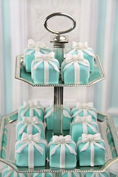 Tiffany Tower shower ideas, cupcak, petit fours, engagement parties, wedding showers, tiffany blue, breakfast at tiffanys, mini cakes, bridal showers