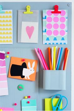 Organized colour, studio, pastel, colors, paper, neon kids room, office walls, kid rooms, craft desk