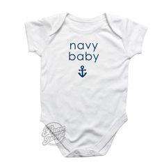 Navy Baby - Screen Printed Onesie. $9.99, via Etsy.