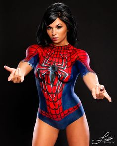 Spider-Man latex body paint is EPIC