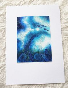 Painting  Original  Blue ooak Mixed media  by TheGoldenTrees, €75.00