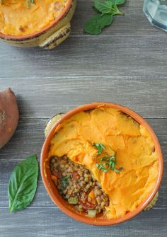 Lentil and Sweet Potato Shepherds Pie (GF) (onion, celery, carrots, diced tomatoes, basil, spinach)