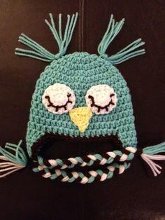 Baby Newborn Owl Crochet Hat with Braided Tassels by beaniebird, $14.00