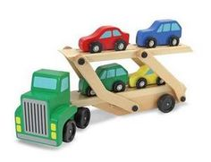 PERFECT for Bob!!! Car Carrier Truck & Cars Wooden Toy Set trucks, gift ideas, doug car, car carrier, wooden toys, melissa, carrier truck, birthday gifts, kid