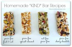 "Homemade ""KIND"" Bar Recipes (GF).. This is a GODSEND. I tested these initially for my Shrinking On a Budget Meal Plan. My kids gobble the Kind bars and they are crazy expensive.  But they are pure health so who am I to argue?  I am hoping these will help save money.  I have made the dark chocolate and the fruit and nut.  Amazing!"