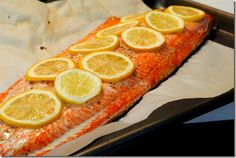 Oven baked salmon fillet, with lemons, EVOO, salt & pepper. 375 for 25 minutes.