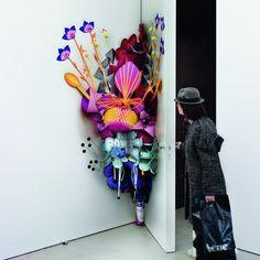 pink flowers, art educ, popup flower, art installation flowers, supers popup, paper inspir, art installations, artist, beauty art