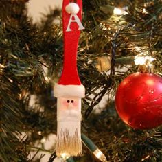 Festive DIY Christmas Ornaments - Santa Paintbrush - Click Pic for 25 Holiday Craft Ideas