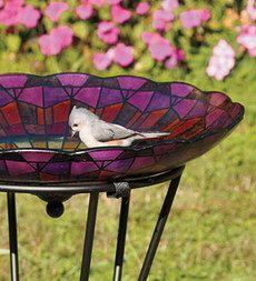 glass birdbath, plant stands, light fixtures, stain glass, glass feeders, stained glass