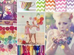 vintage rainbow wedding