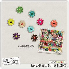 Quality DigiScrap Freebies: Can And Will Glitter Blooms freebie from Bella Gypsy Designs