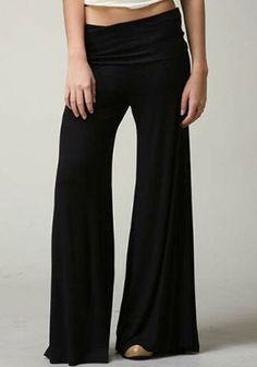 SUPER WIDE PALAZZO LEG BLACK FOLD LOW RISE WAIST STRETCH DRESS GAUCHO PANTS L