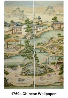 Historic Period Interior Design and Home Decor: The American Colonial Period Decorating Style: Chinese Wallpaper imported for affluent homes