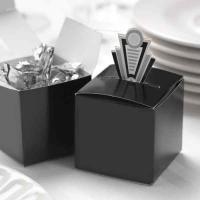 "Silver Art Deco Pop-Up Favor Box Art Deco inspired pop-up favor box in black with silver accents. Size: 2"" x 2"" x 2"". Contents not includ..."