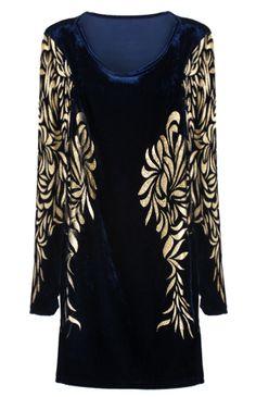 Blue Metallic Yoke Embroidery Bodycon Dress