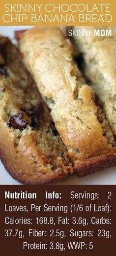 chip banana, skinni chocol, chocolate chips, chocol chip, healthy chocolate banana bread, skinny banana bread, banana chocolate recipes, skinny recipes, banana chocolate chip bread