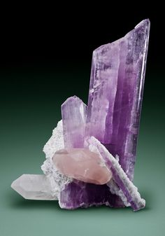 Kunzite with Morganite and Quartz - Afghanistan