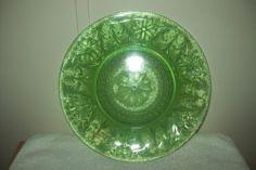 Antique Vintage Green Vaseline Uranium Canary Glass Large Plate Dish Art Glass   eBay