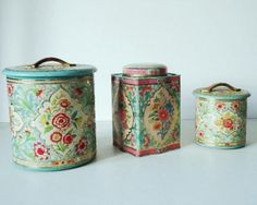Three Vintage Floral Tin Canisters in Turquoise and Pink by SwirlingOrange floral tin, tin canist
