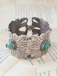Vintage Mexican Cuff with real Turquoise
