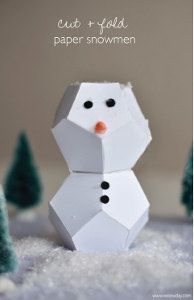 These geometric Cut and Fold Paper Snowmen come with a free printable template!