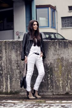White jeans + leather jacket + leopard booties