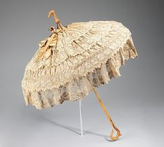 1880-90. Parasols were for show, carried as an accessory to complete a toilette.  This example is fitted with a crook at top so it could be carried with the canopy down for a more elegant line than carrying it from the handle end.